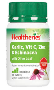 Healtheries Garlic, Vit C, Zinc & Echinacea with Olive Leafea 60
